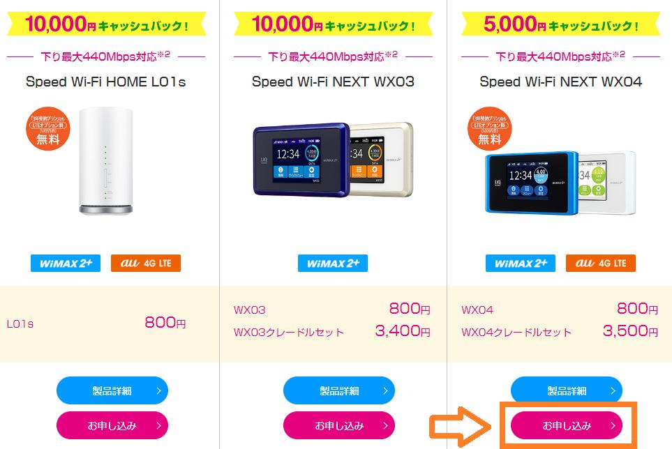 UQ WiMAX口座振替で高額キャッシュバックがもらえるWX04