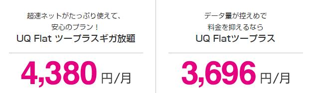 「UQ WiMAX」口座振替の利用料金