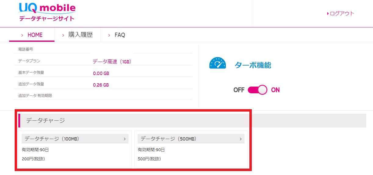 UQモバイルのデータチャージサイトにログイン完了