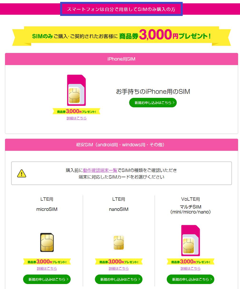 UQモバイル口座振替でSIMカードだけ購入する場合