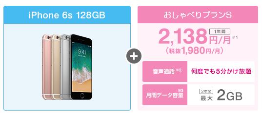 UQモバイル口座振替×iPhone6s 128GBの料金シミュレーション