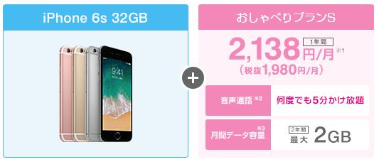 UQモバイル口座振替×iPhone6s 32GBの料金シミュレーション